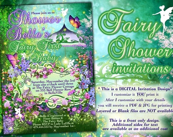 Fairy Theme Baby Shower, Fairy Baby Shower Invitations, Baby Shower Invitations