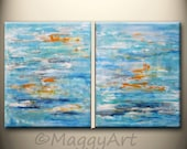 ON SALE, 40x16inch or 32x20inch original abstract painting,blue ocean, amber,orange,sea, on stretched canvas, ready to hang
