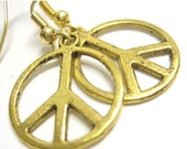 VALENTINES DAY SALE - Gold Peace Sign Earrings - Golden Peace Jewelry Leverback Clip On Earring Option 087