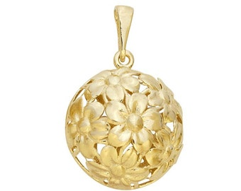 14K Yellow Gold Hollow Floral Dome Pendant