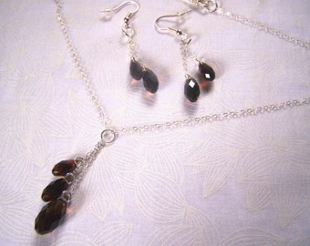Jewelry Set Y Necklace and Earrings Swarovski Briolette