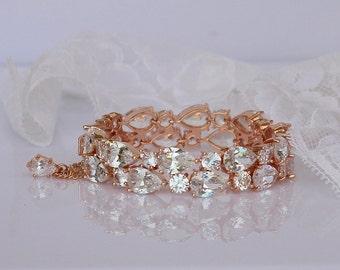 Rose Gold Bracelet, Rose Gold Crystal Bracelet, Crystal Teardrop Bracelet, Wide Crystal Cuff,  TESSA RG