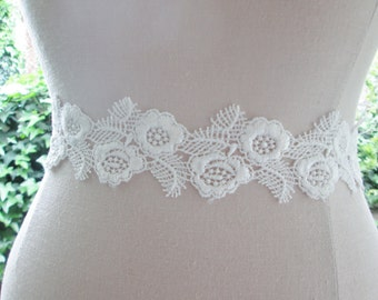 Lace bridal sash, Venise lace wedding sash,  ivory wedding belt,  ivory sash