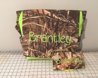 duck hunter camouflauge  CAMO fabric and Lime Green Embroidered Diaper Bag & wipes case with free name monogram