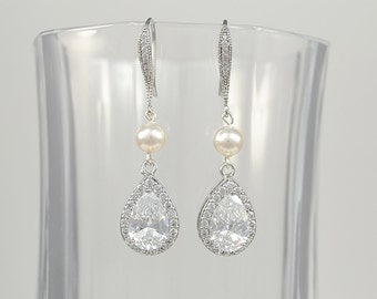 Bridal Cubic Zirconia Earrings, Swarovski Pearls, Ear Wires, Teardrop Pendants, Silver, Rose Gold, Emily Earrings - Ships in 1-3 Days