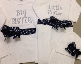 Navy, Gray and White Sister Gown Set