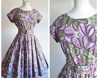 1950s Purple & green printed cotton day dress / 50s pleated full skirt dress - S
