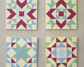 Quadrille No 1 Modern and colorful wall decor patchwork block Yellow Green Red Aqua Blue