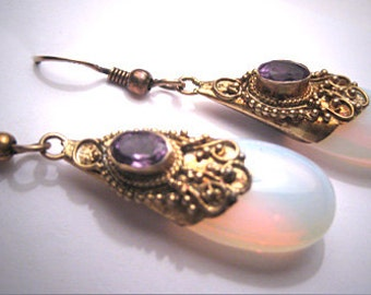 Vintage Amethyst Opalite Earrings Victorian Etruscan Revival Style Gold