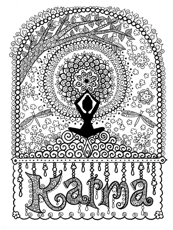 Karma coloring page digital coloring for adults instant Yoga coloring book for adults