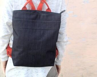 Summer SALE, Vegan backpack in blue, laptop backpack, fabric backpack, unique backback, rucksack backpack, blue backpack, canvas backpack