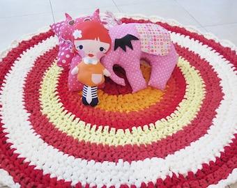 SALE - Crochet rug , crochet carpet , doily rug , girl nursery rug , round rug , boho decor