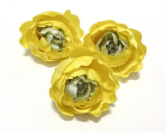 3 Small YELLOW Ranunculus Buds - Artificial Flowers, Silk Flowers, Flower Crown, Wedding