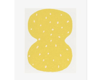 SALE Small original screenprint, yellow, pink and cream. Modern, minimal, abstract art by Emma Lawrenson