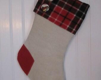 Christmas Stocking Red Plaid Alaska Buttons