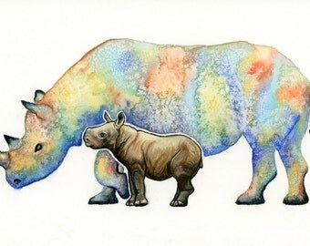 Rhinoceros Mother and Baby, A Mother's Love Shines 5.5x8.25inch Watercolor Painting