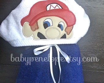 Mario Hooded Towel - Video Games Birthday Part Gift - Video Games christmas Gift - Personalized Mario Gift