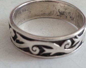 Vintage Sterling Silver Tribal Band Ring 1990s Wedding Band 925 Size 9