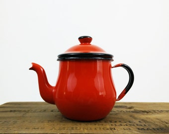 Red Enamel Teapot / Black Trim / Tea Kettle Made in Japan