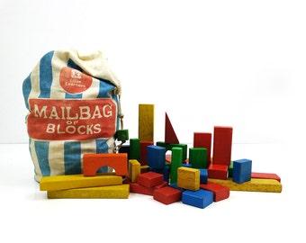 Mailbag of Blocks / Toy Building Blocks by Sears Roebuck Little Learners / Vintage Toy Blocks