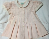 Vintage Baby Dress/Pale Pink/Box Pleats/Embroidered/1960s