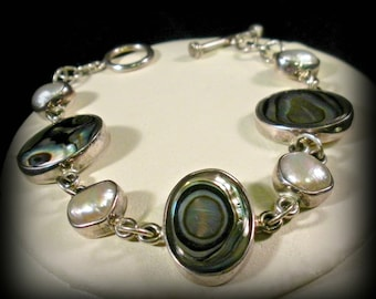 Sterling Bracelet with Pearls and Abalone
