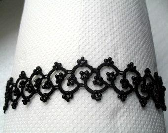 Lace tatting jewelry set, Black jewelry set, Set Crochet Tatting/ necklace,anklet, bracelet and  earrings lace jewelry