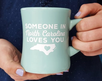 Someone in North Carolina Loves You - Blue Mug - Diner Mug - Retro Vintage