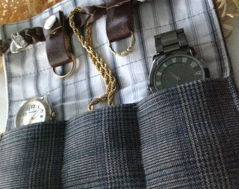 Travel Watch Roll, Travel Jewelry Roll, Gift For Men, Gift For Coworker, Leather Strap, Groomsmen Gift, Gift Under 50