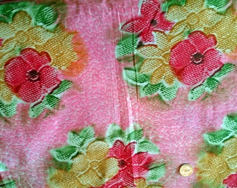 Vintage 50s Pink Huge Flowers Cotton Print 2yd plus by 36 Unused for Full Skirt or Quilting