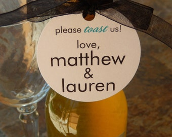 """100 Mini Wine or Champagne Bottle Custom 2"""" Favor Tags - For Wedding or Engagement - Anniversary or Vow Renewal - Please Toast Us Tags"""
