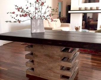 8 foot Scala table with wooden top.
