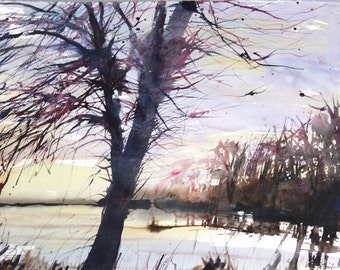 """New England Landcape No.186, 22""""x30"""", limited edition of 50 fine art giclee prints from my original watercolor"""
