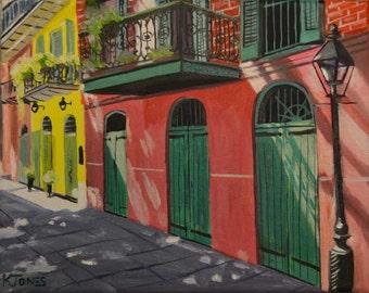 Sunlight in the Quarter   Original Oil Painting   8 X 10   Louisiana artist Kristi Jones   French Quarter New Orleans historical hot pink