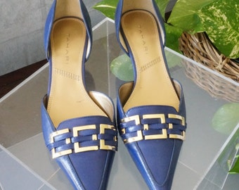 Free Shipping! Vtg Like New TAHARI Royal Blue Low Kitten Heel Pump Shoe - Size 6 M