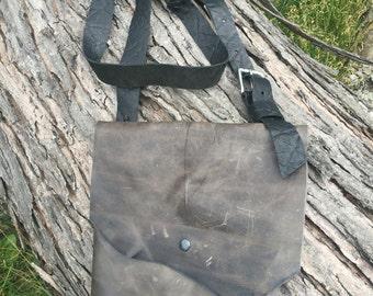 Gray leather bag