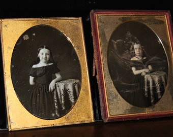 2 Large Half Plate Daguerreotypes Photos of Sisters / Little Girls ~ Prob Cincinnati