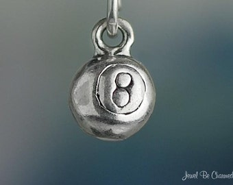 Miniature Sterling Silver Eight Ball Charm Billiards Pool 3D Solid 925
