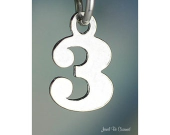 Sterling Silver Small Number Three Charm Numeral 3 Digit Solid .925