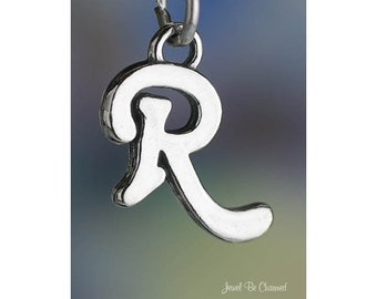 Sterling Silver Script Letter R Charm Initial Cursive Shiny Solid .925