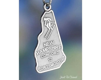 Sterling Silver New Hampshire Charm State America Concord Solid .925