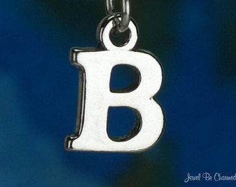 Sterling Silver Capital Letter B Charm Initial Alphabet Solid .925