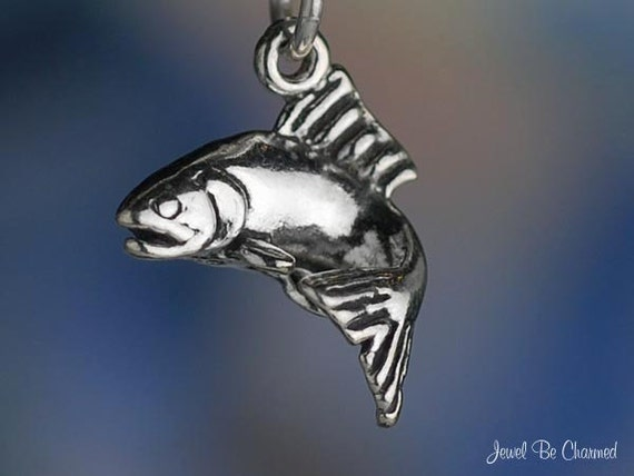 Trout Charm Sterling Silver Fish Seafood Fishing Small 3D Solid .925