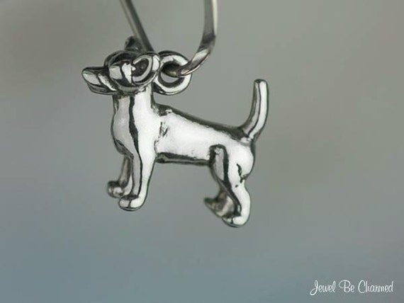 Miniature Chihuahua Charm Sterling Silver 3D Dog Very Small Tiny .925