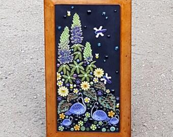 MOSAIC WALL ART wall decor floral garden mosaic outdoor patio art. Handmade ceramic quail lupine dragonfly flower art tile.