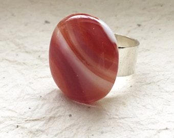 Women's Adjustable Glass Ring, Fused Glass Ring