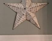 RESERVED/Vintage Metal Star/Metal Barn Star/Distressed Barn Star/Chippy White Star/Farmhouse Decor