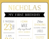 Birthday Milestone Fun Facts Sign - Safari Animal Themed - Print Yourself