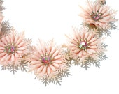 """Pink Snowflake Necklace with Featherweight Molded Plastic & Fucshia Aurora Borealis Rhinestones and Glass Beads - Up to 16"""" Vintage Jewelry"""
