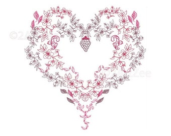 Flowering Heart Machine Embroidery Design Quilt Pillows Weddings Valentines Embellishment 3 sizes